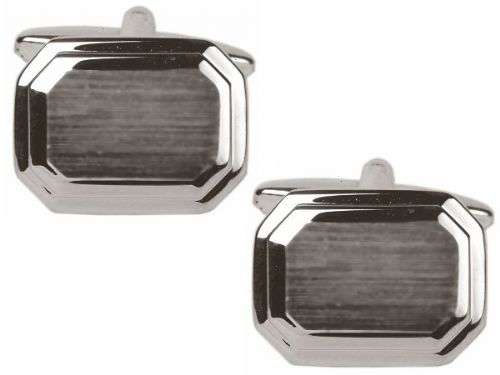 Octagonal Brushed Cufflinks Chrome Plated